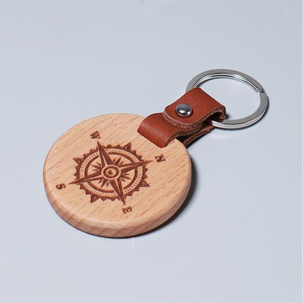 皮革鑰匙圈|航海羅盤