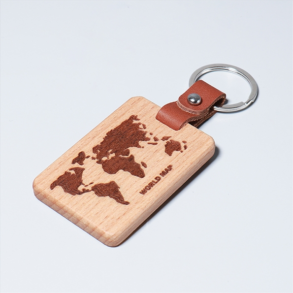 皮革鑰匙圈|世界地圖