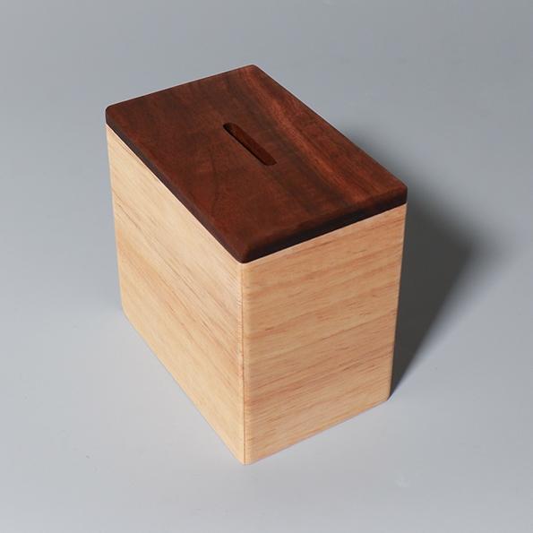 胡桃木存錢筒|長方款